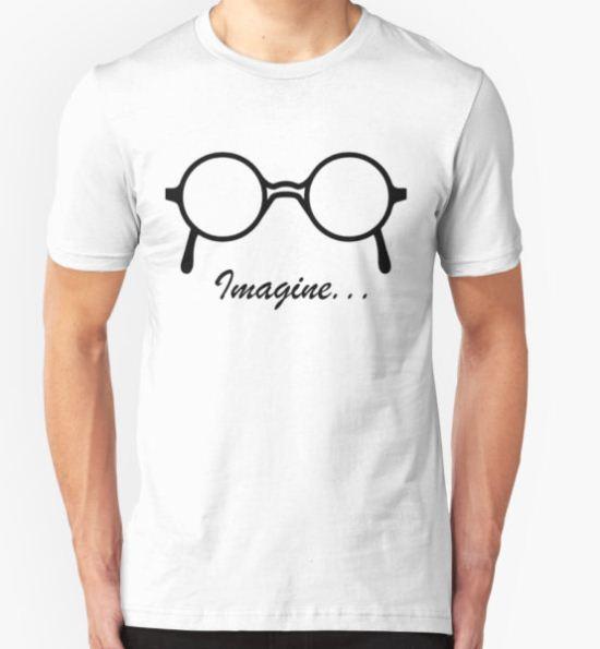 Imagine John Lennon Song Lyrics Quotes The Beatles Rock Music T-Shirt by WordWorld T-Shirt