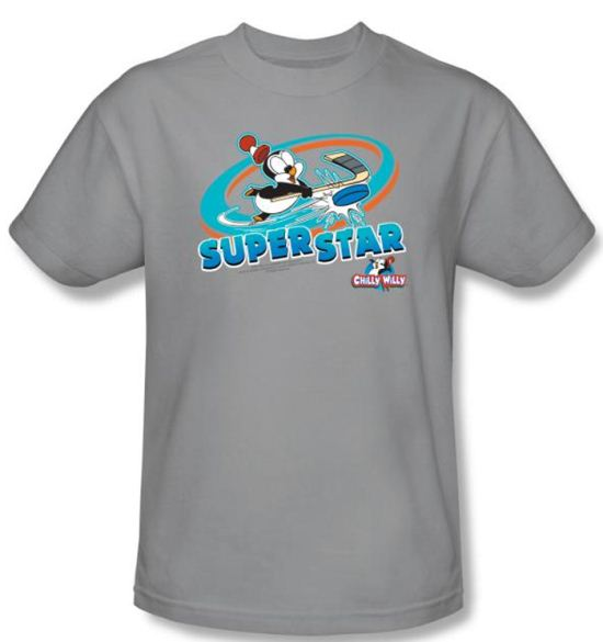 Chilly Willy T-shirt TV Show Slap Shot Adult Silver Tee Shirt