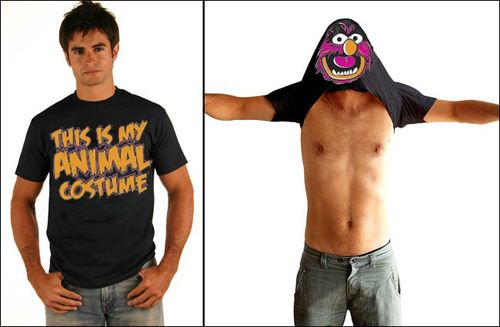 The Muppets This Is My Animal Costume Flip Black Adult T-shirt