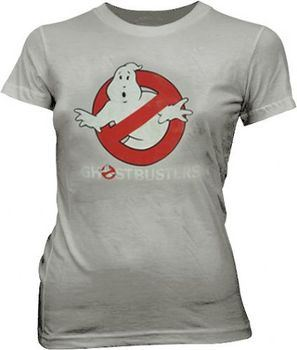 Ghostbusters Faded Logo To Go Ice Grey Juniors T-shirt