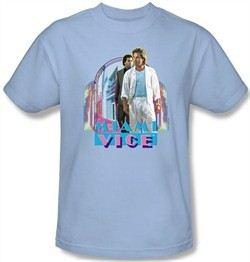 Miami Vice T-shirt Miami Heat Adult Light Blue Tee Shirt