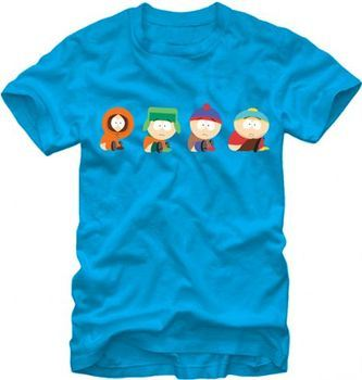 South Park 4 Boys Scooting Adult Blue T-shirt
