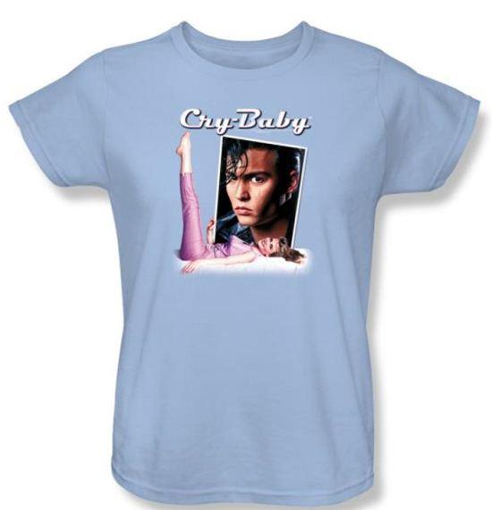 Cry Baby Ladies T-shirt Movie Title Light Blue Tee Shirt