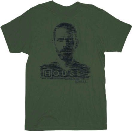 House M.D. Dr. House Type Face Military Green Adult T-Shirt