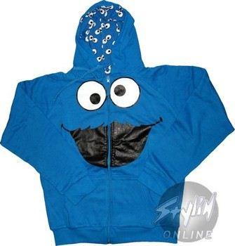 Sesame Street Cookie Monster Reversible Full Zipper Hooded Sweatshirt