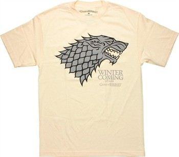 Game of Thrones Stark Gray Direwolf Sigil Winter is Coming Cream T-Shirt