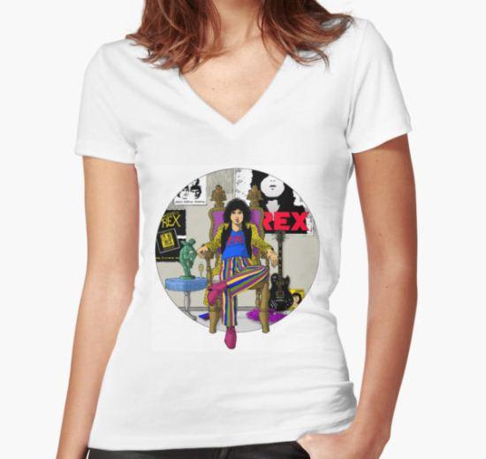 Marc Bolan - 20th Century Boy  Women's Fitted V-Neck T-Shirt by dwornboy T-Shirt