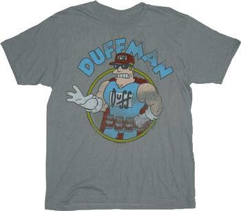 8baa4d6f4 ... The Simpsons Vintage Duff Duffman Gray Adult T-shirt