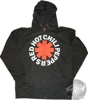 Red Hot Chili Peppers Logo Full Zipper Hooded Sweatshirt