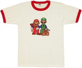 Nintendo Super Mario Bros Plumbing Ringer T-Shirt