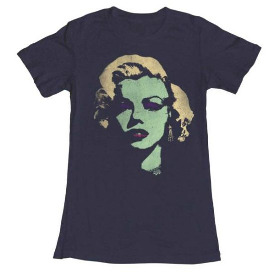 Marilyn Monroe Shirt Juniors Looking Green Navy T-Shirt