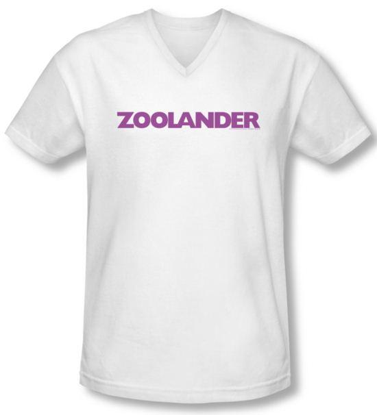 Zoolander Shirt Slim Fit V Neck Logo White Tee T-Shirt