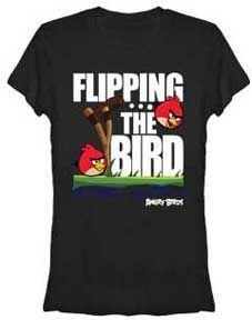 Angry Birds Flip the Bird Black Juniors T-shirt