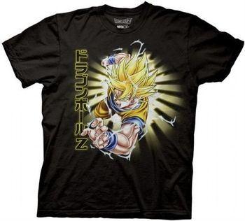 Dragonball Z Super Sayan Blonde Goku Adult Black T-shirt