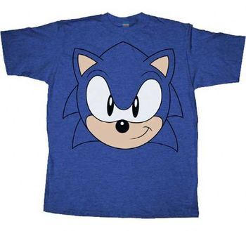 Sonic the Hedgehog Big Face Blue Heather Adult T-shirt