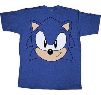Sonic the Hedgehog Big Face Blue Heather Adult T-shirt