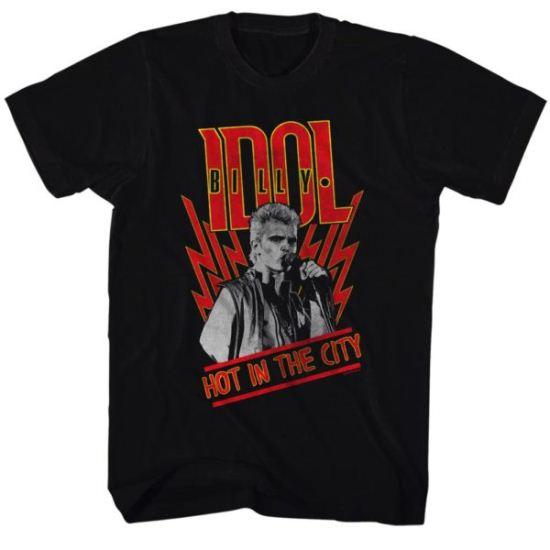 Billy Idol Shirt Hot In The City Black Tee T-Shirt