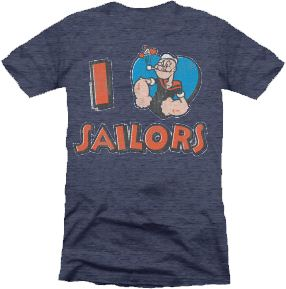 Popeye the Sailorman I Love Heart Sailors Heather Navy Juniors T-shirt