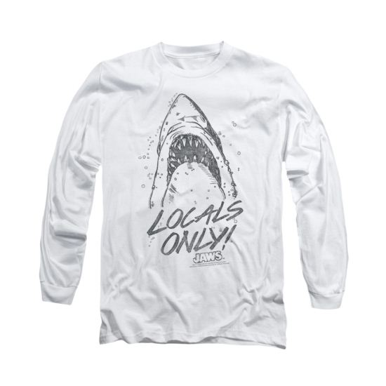 Jaws Shirt  Locals Only Long Sleeve White Tee T-Shirt