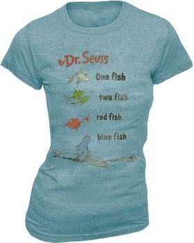 Dr. Seuss One Fish Two Fish Light Cyan Juniors T-shirt