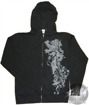 Guitar Hero Logo Black Full Zipper Hooded Sweatshirt