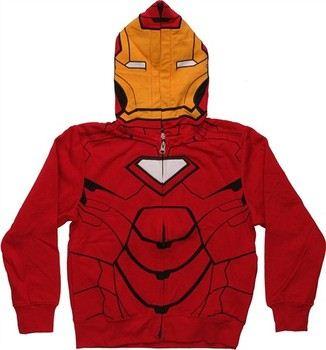 Marvel Comics Iron Man Printed Hood Costume Full Zipper Hooded Juvenile Sweatshirt