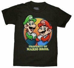 Nintendo Property of Super Mario Bros. Mario and Luigi Boys Black T-Shirt