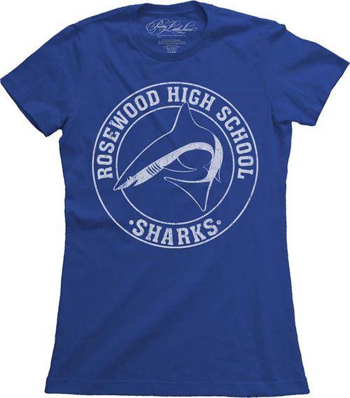 Pretty Little Liars Rosewood High School Sharks Royal Blue Juniors T-shirt