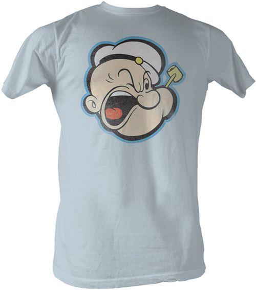 Popeye The Sailorman Head Color Distressed Light Blue Mens T-shirt