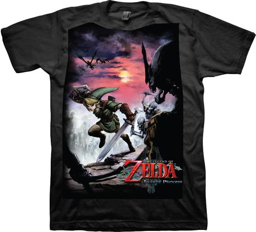 Nintendo Legend of Zelda Twilight Princess Scene Black Adult T-shirt