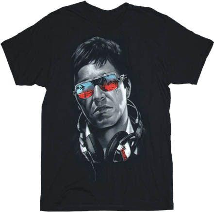 Scarface DJ Tony Montana Headphones & Shades Black Adult T-shirt