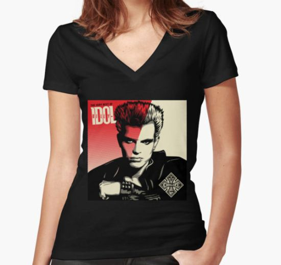 BILLY IDOL Women's Fitted V-Neck T-Shirt by 01Gagak T-Shirt