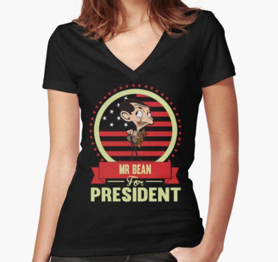 Mr Bean Women's Fitted V-Neck T-Shirt by AlexPhan T-Shirt