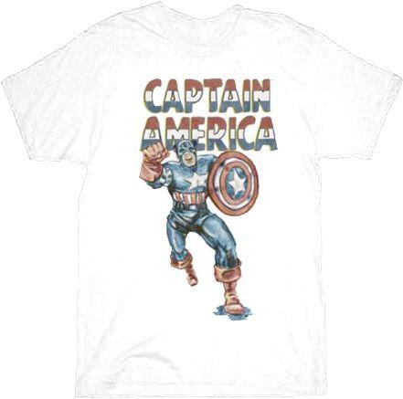 Captain America Go Captain White Adult T-shirt