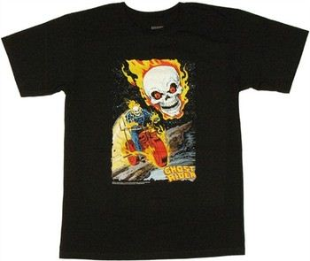 Marvel Comics Ghost Rider Comic Flame Skull Bike T-Shirt