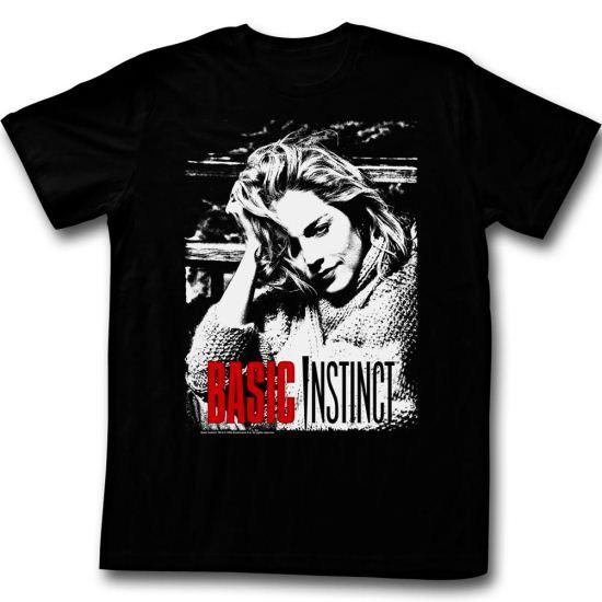 Basic Instinct Shirt Red And White Adult Black Tee T-Shirt