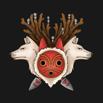 A mask, two wolves and spirits