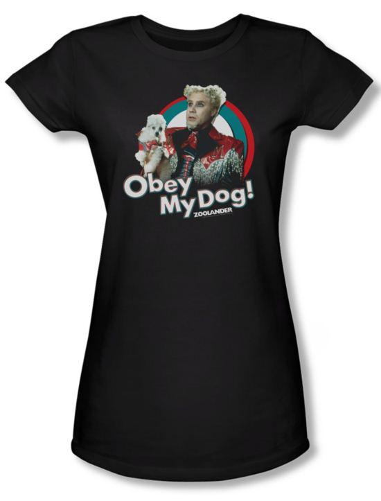 Zoolander Shirt Juniors Obey My Dog Black Tee T-Shirt
