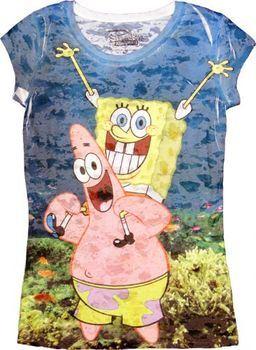 Spongebob SquarePants Underwater Bob With Patrick Heathered Blue Sublimation Burnout Juniors T-shirt