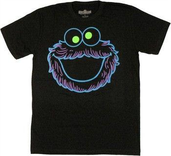 Sesame Street Neon Cookie Monster Face T-Shirt Sheer