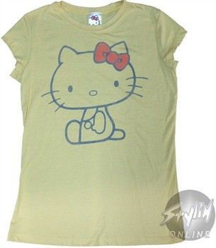 Hello Kitty Outline Baby Doll Tee by Mighty Fine