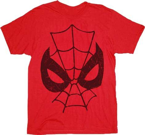 Spider-Man Parker Can't Lose Big Face Red Adult T-Shirt