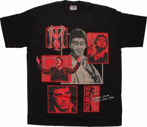Scarface Plaid Boxes Black T-Shirt