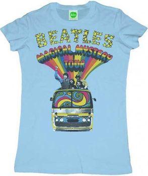 The Beatles Magical Mystery Tour Bus Light Blue Juniors T-Shirt