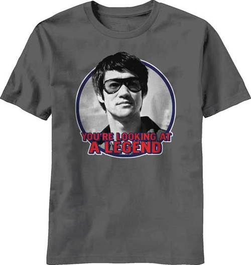 Bruce Lee You Are Looking At A Legend Adult Charcoal T-Shirt