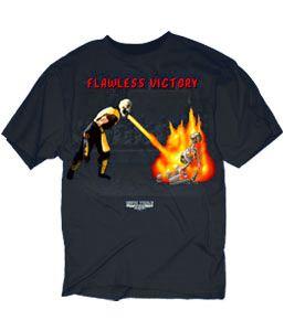 Mortal Kombat Klassic Double Flawless Victory Fire Black Adult T-Shirt