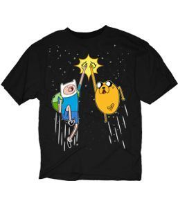 Adventure Time Finn and Jake Space Fist Pump Adult Black T-shirt