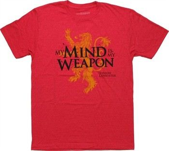 Game of Thrones Lion My Mind is My Weapon Tyrion Lannister T-Shirt Sheer