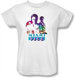 Miami Vice Ladies T-shirt Crockett And Tubbs White Tee Shirt