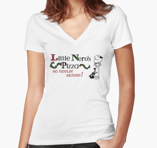 'Little Nero's Pizza' Women's Fitted V-Neck T-Shirt by ironsightdesign T-Shirt